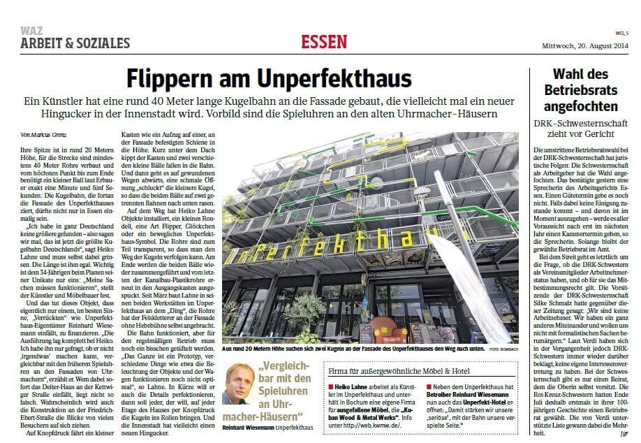 Flippern am Unperfekthaus Küstler Heiko Lahne